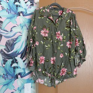 Olive Floral Button Up Blouse